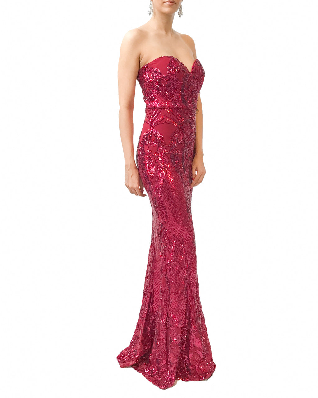 Strapless Sweetheart Sequin Gown
