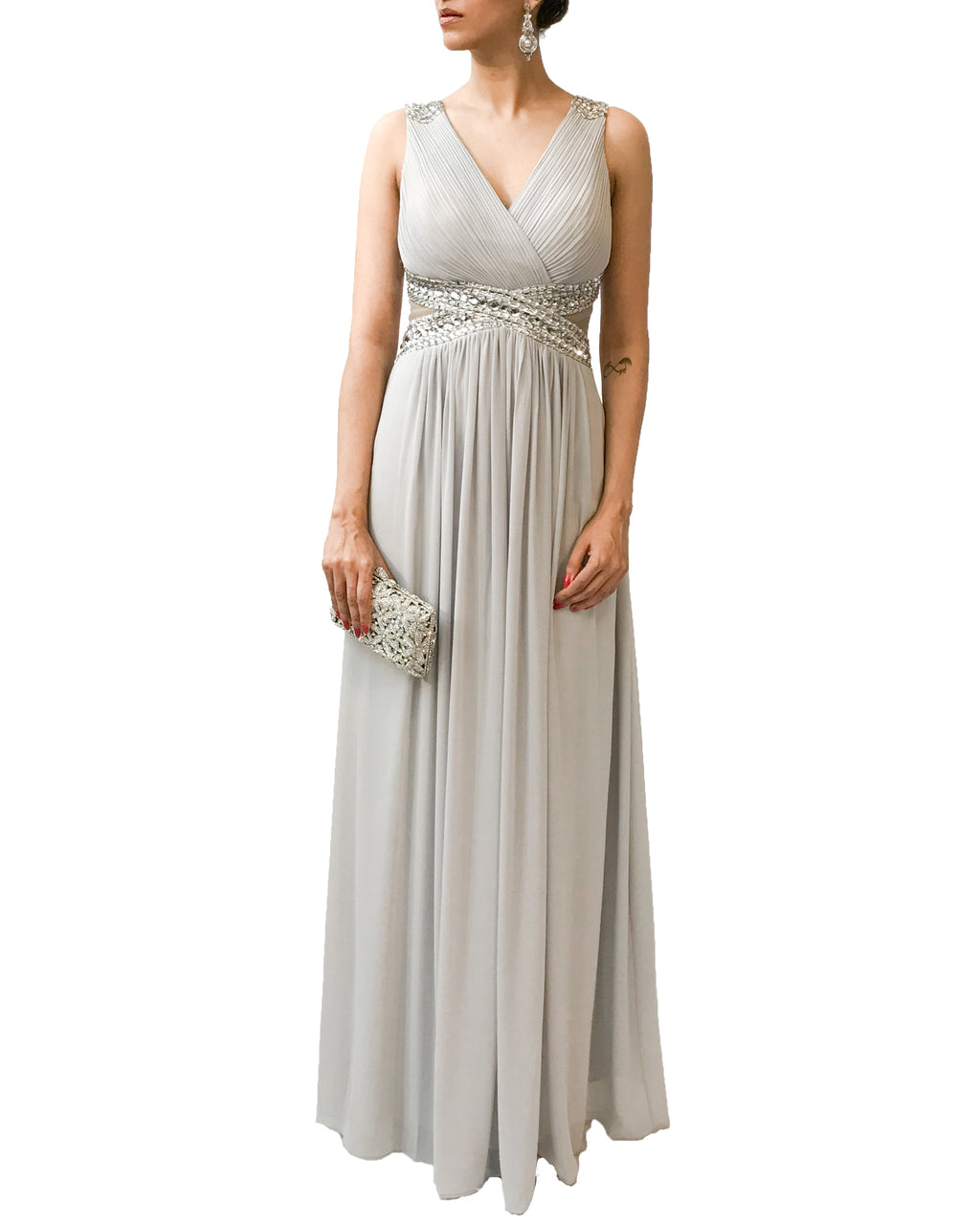 Embellished Shine V Neck Dress - Vestito - Covetella Dress Rentals