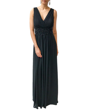 Pleated V-Neck Beaded Gown - Vestito - Covetella Dress Rentals