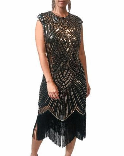 Duo Tone Fringe Tassel Cocktail Dress
