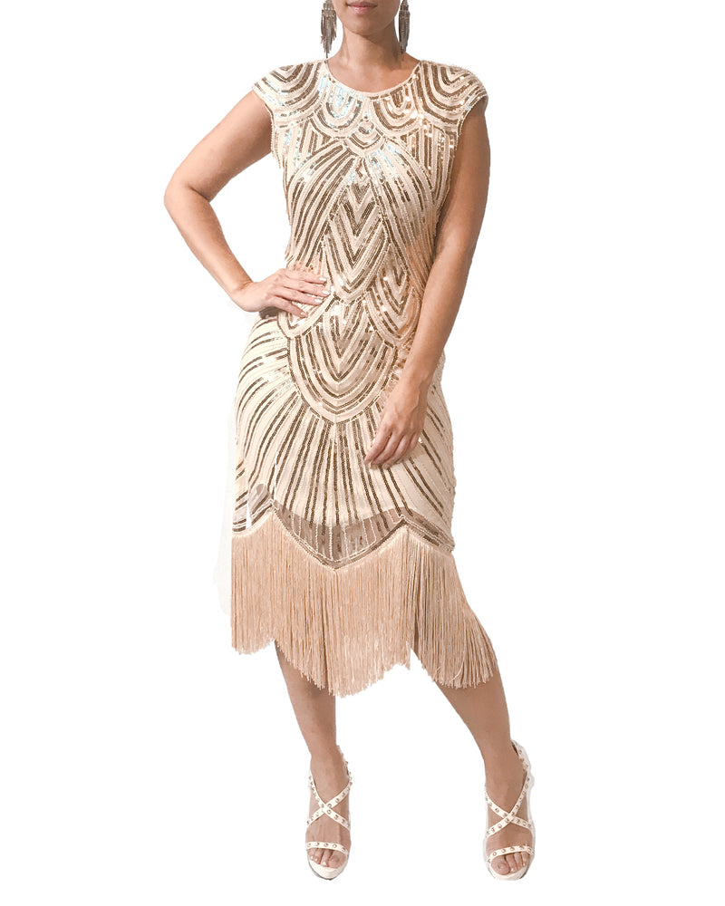 Duo Tone Tassel Gatsby Cocktail Dress - Vestito - Covetella Dress Rentals