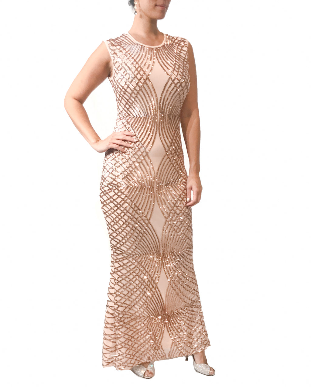 Stretch Sleeveless Rose Gold Sequin Gown
