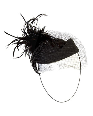 Feather Net Eye Cover Hat - Jolie - Covetella Dress Rentals
