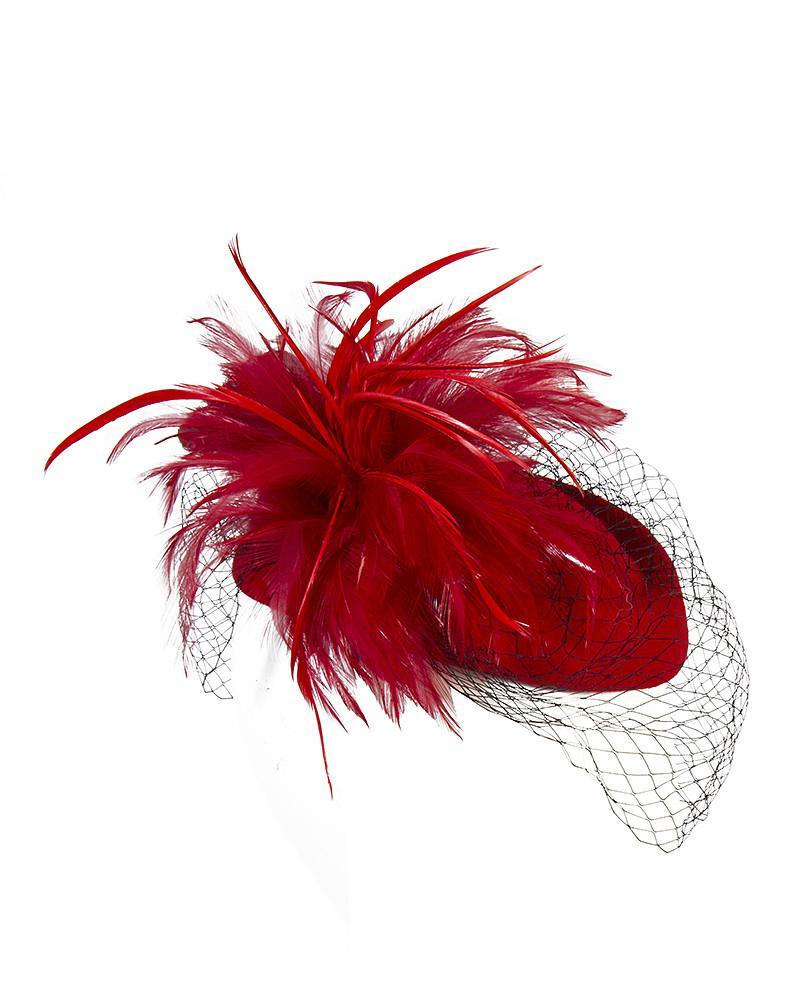Red Feather Saucer Fascinator by Jolie - Rent or Buy It at Covetella