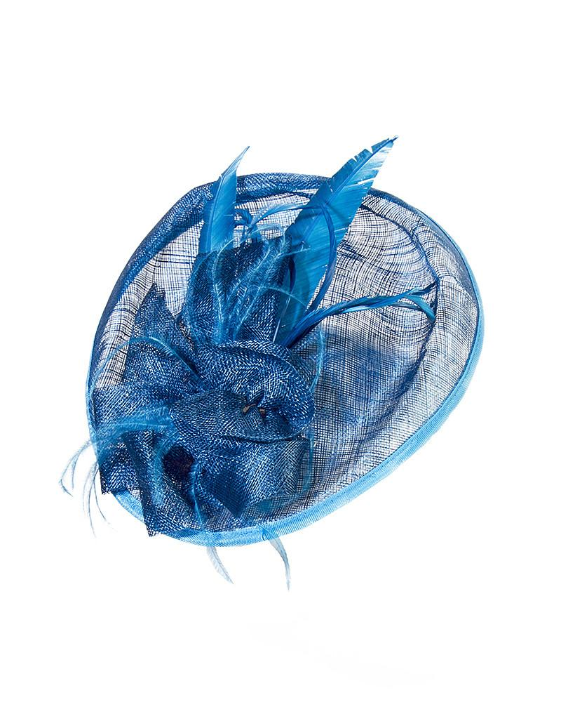 Blue Feather Saucer Fascinator - Jolie - Covetella Dress Rentals