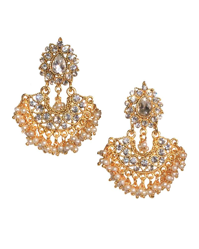 Gold Dangling Decorated Earrings - Jolie - Covetella Dress Rentals