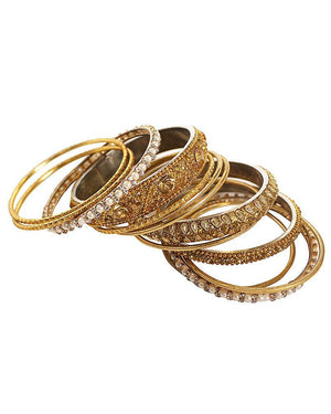 42-Piece Gold Bangle Set - Jolie - Covetella Dress Rentals