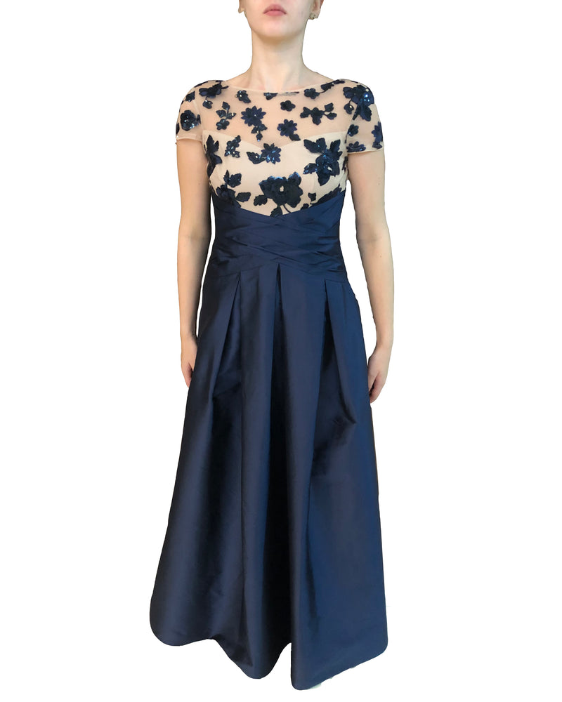 Navy Blue Flower Taffeta Gown