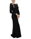 Long Sleeve Shoulder Embellished Gown