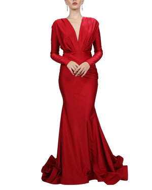 Long Sleeve Ruched Mermaid Gown