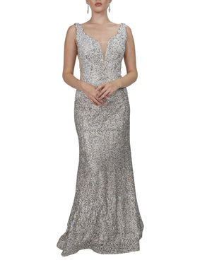 Champagne Embellished Mermaid Gown