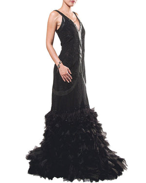 Feather & Leather Gown - Zardoze - Covetella Dress Rentals