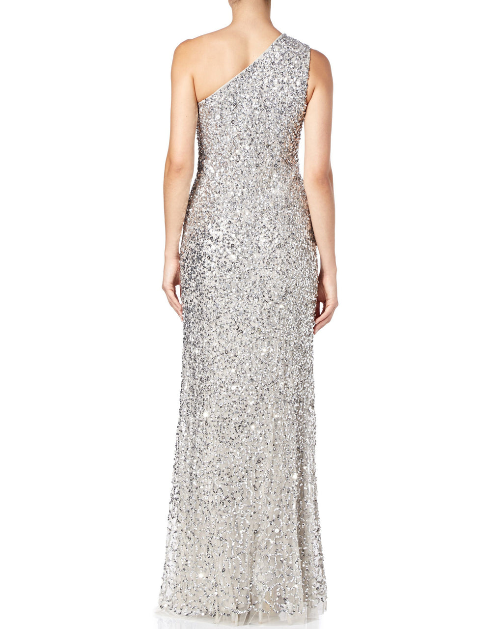 One-Shoulder Sequin Silver Gown