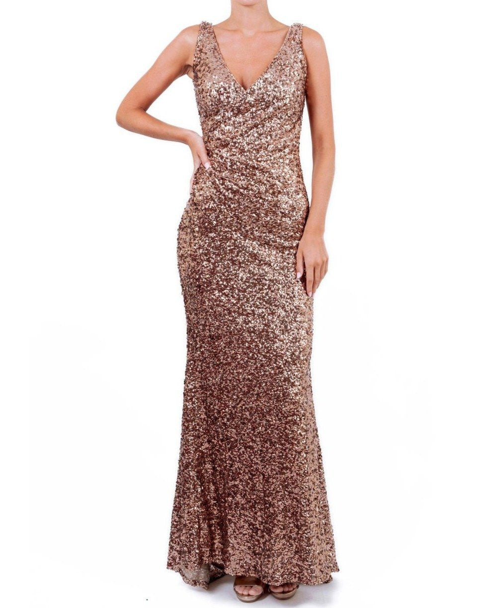 Faux Wrap V-Neck Sequin Gown - Badgley Mischka - Covetella Dress Rentals