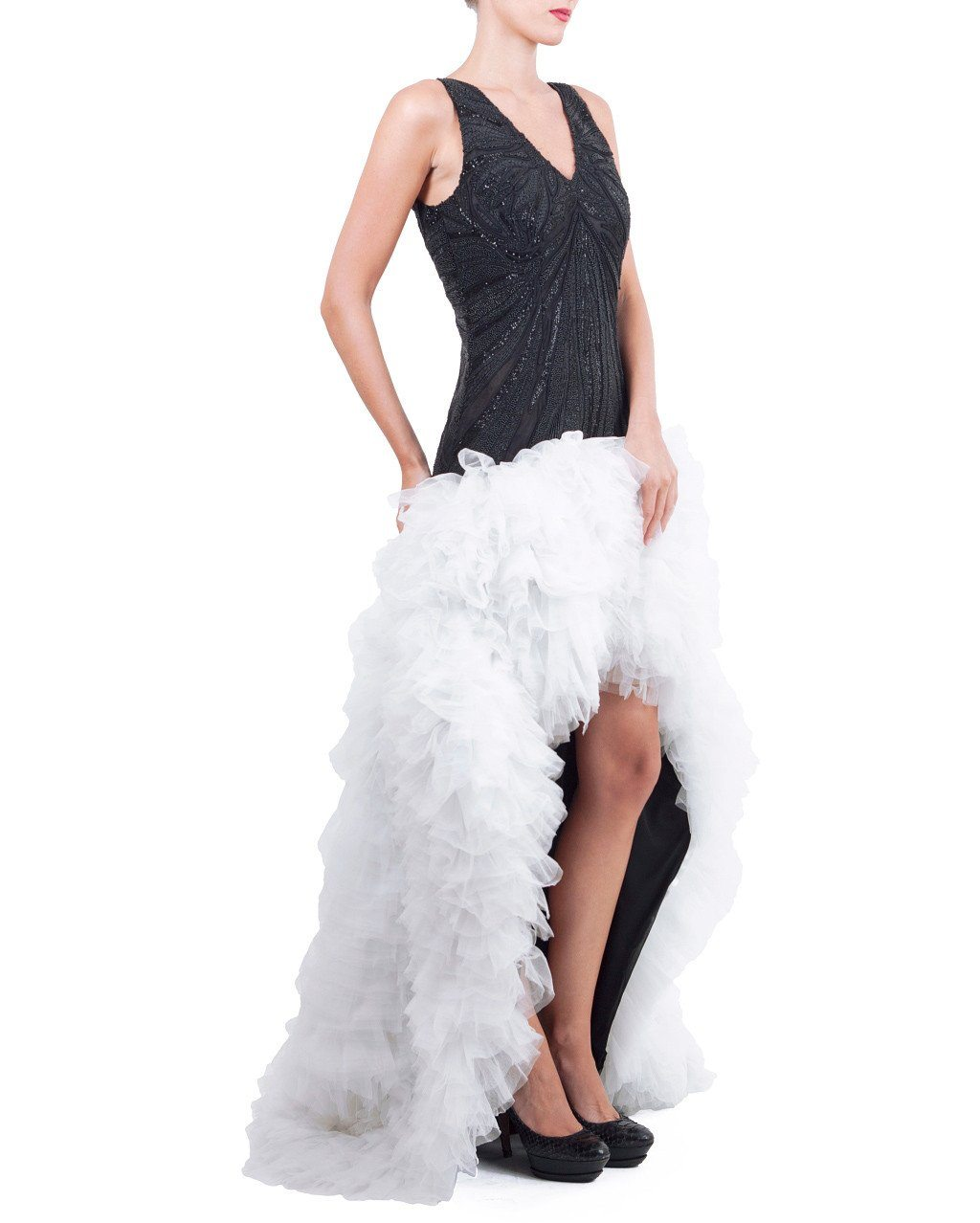 Beaded Color Block Ruffle Gown - Zardoze - Covetella Dress Rentals