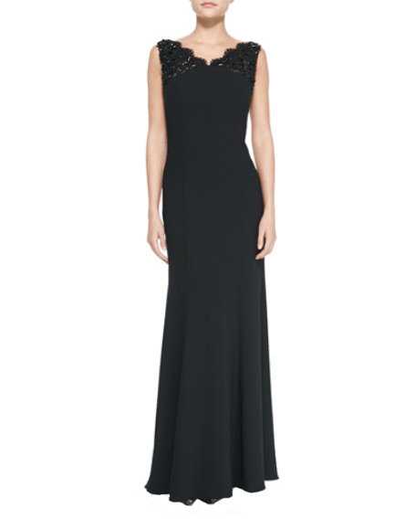 Beaded Lace V-Neck Gown - Monique Lhuillier - Covetella Dress Rentals