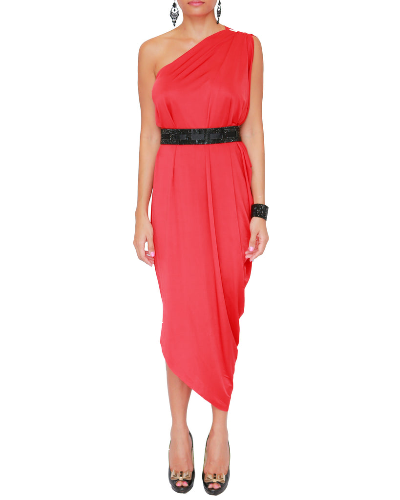 One-Shoulder Draped Midi Dress