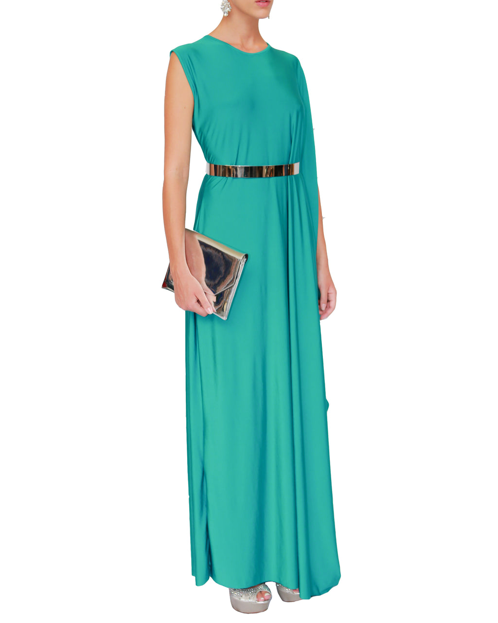 Sleeveless Draped Long Dress