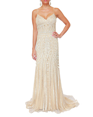 Gold Crystal Geo Pattern Levelled Gown
