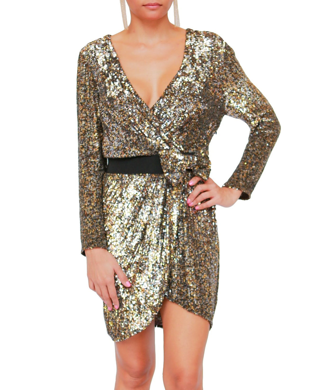 Sequin Wrap Dress with Bow