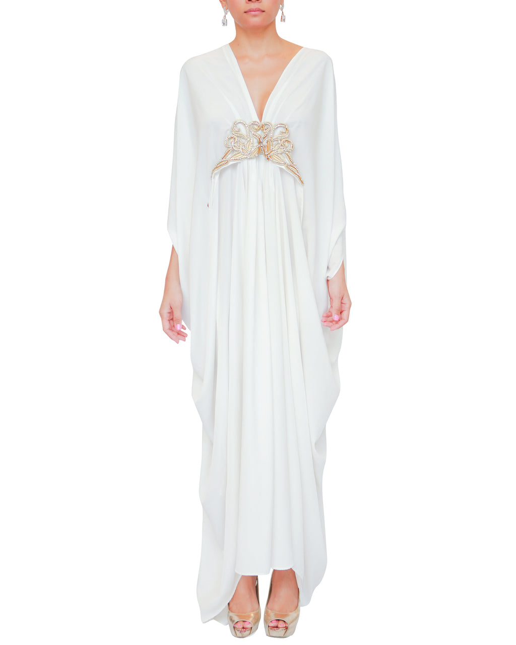 White Kaftan Gold Embellishment Dress