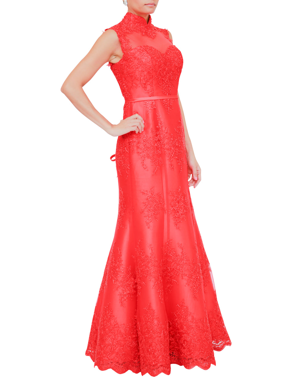 Empire Lace High Collared Gown