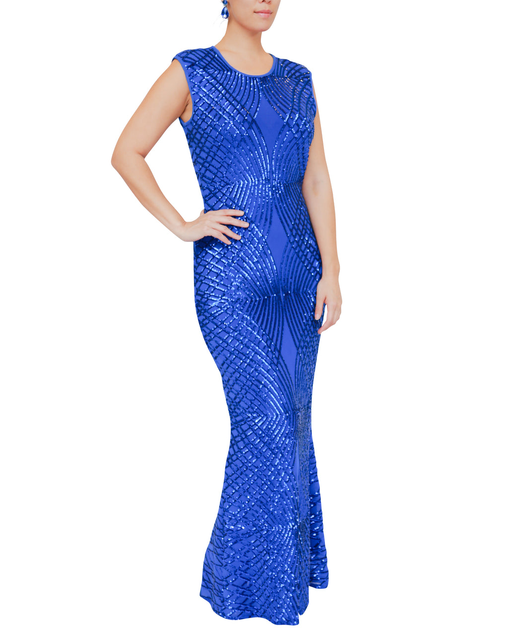 Stretch Sleeveless Blue Sequin Gown