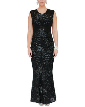 Stretch Sleeveless Black Sequin Gown