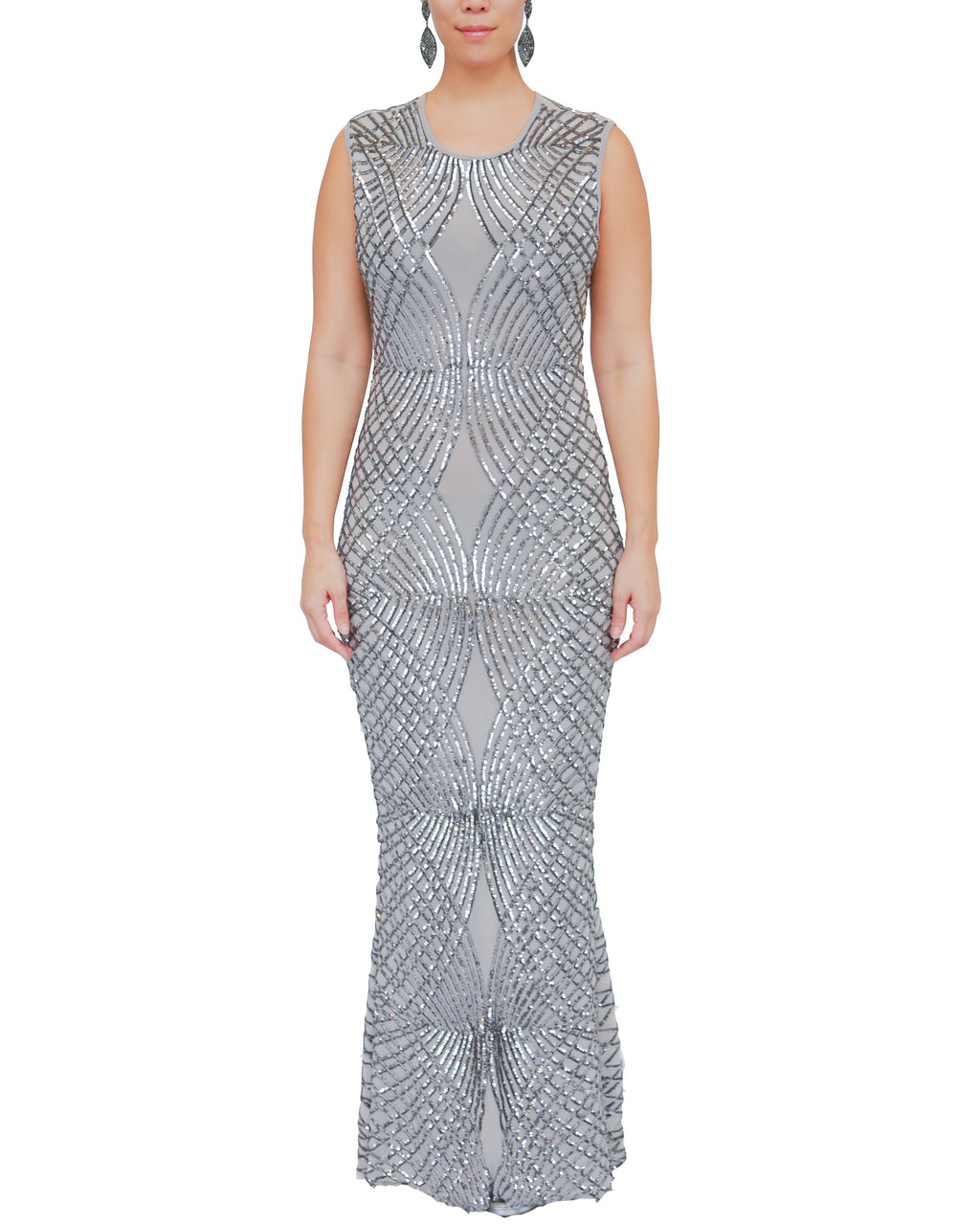 Stretch Sleeveless Patterned Sequin Gown