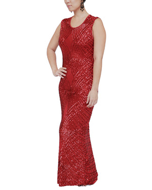 Stretch Sleeveless Red Sequin Gown