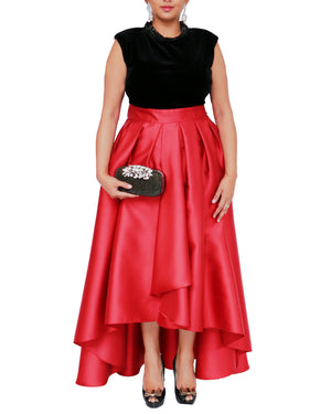 Velvet Bodice Dress with Full Skirt