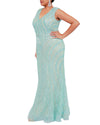 Aqua Blue Beaded V-Neck Belt Gown