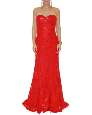 Strapless Sequin Sweetheart Gown