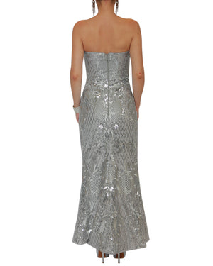 Strapless Silver Sequin Sweetheart Gown