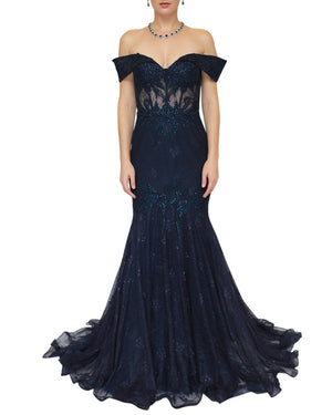 Off-Shoulder Beaded Mermaid Gown