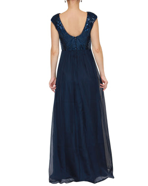 Cap Sleeve Sequin Gown