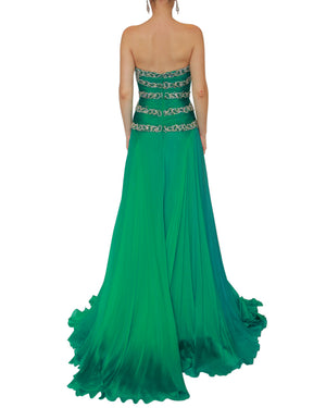 Crystal Beaded Strapless Silk Chiffon Gown