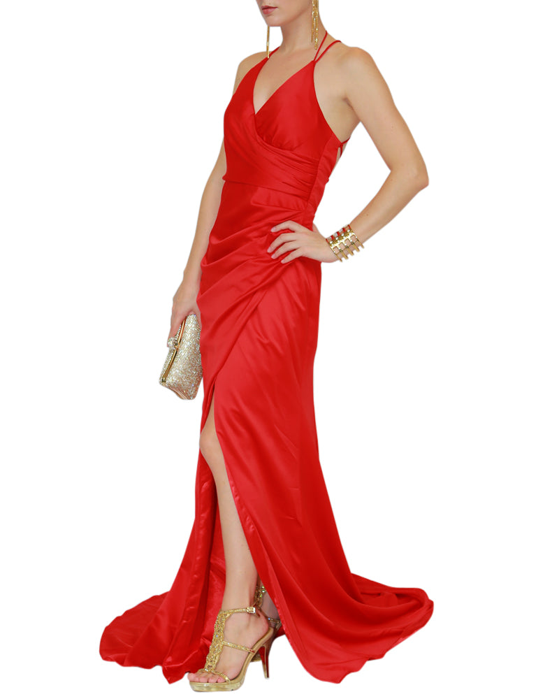 V-Neck Cross Back Strap Gown