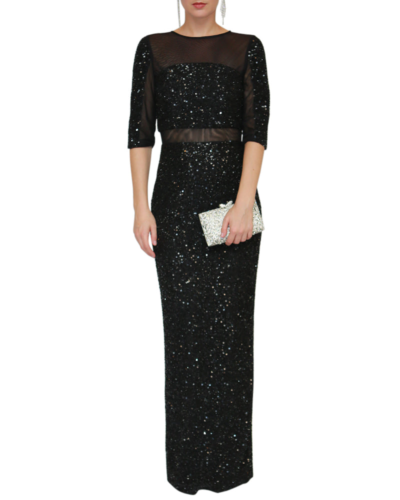 3/4 Sleeve Sequin Intuition Gown