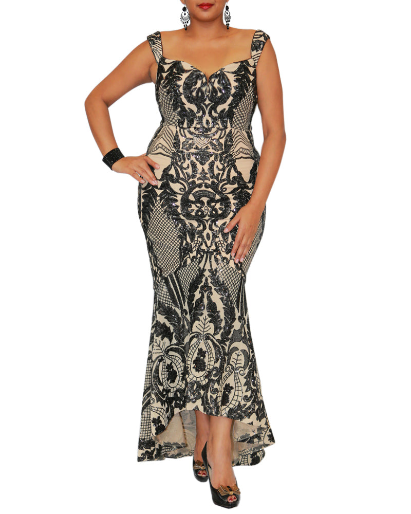 Patterned Sequin Fishtail Gown