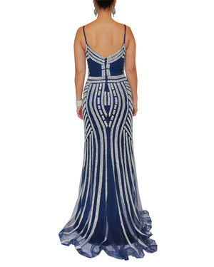 Blue Crystal Geo Pattern Gown