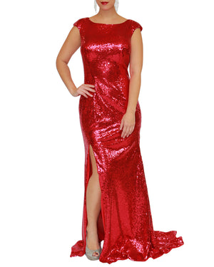 Full Sequin Slit Mermaid Gown