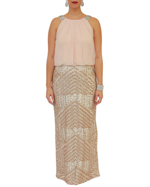 Sleeveless Gown with Geo-Sequin Skirt