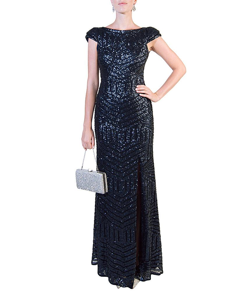 Navy Cap-Sleeve Sequined Gown - Bariano - Covetella Dress Rentals