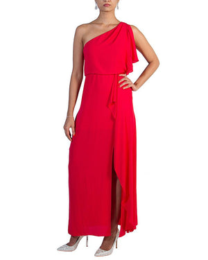 One-Shoulder Cascading Dress - BCBG - Covetella Dress Rentals