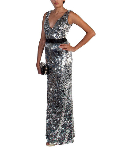 Full Sequin Plunging Neck Gown - eDressit - Covetella Dress Rentals
