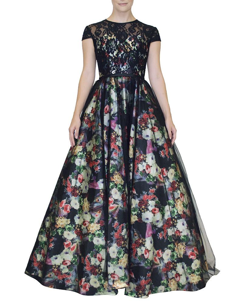 Illusion Floral Ballgown - Prive - Covetella Dress Rentals
