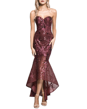 Strapless Sequin High Low Gown