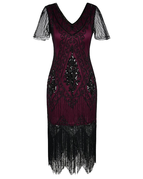 Sequin Art Deco Flapper Dress