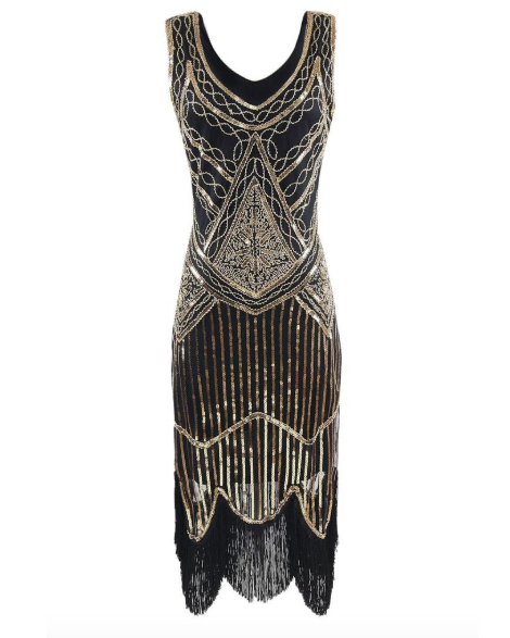 Gold Sequin Sleeveless Flapper Dress